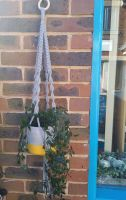 Macrame pot holder in grey with yellow dipped pot (plant not included)