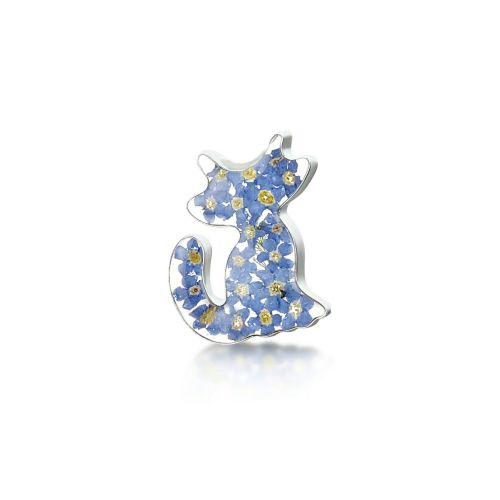 Silver and forget me not cat brooch