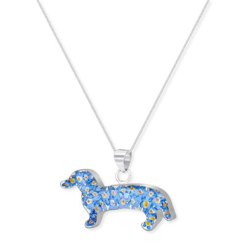 Forget me not dachshund pendant