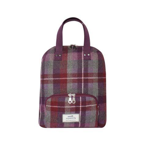 Tweed back pack in Pinks/purples/grey