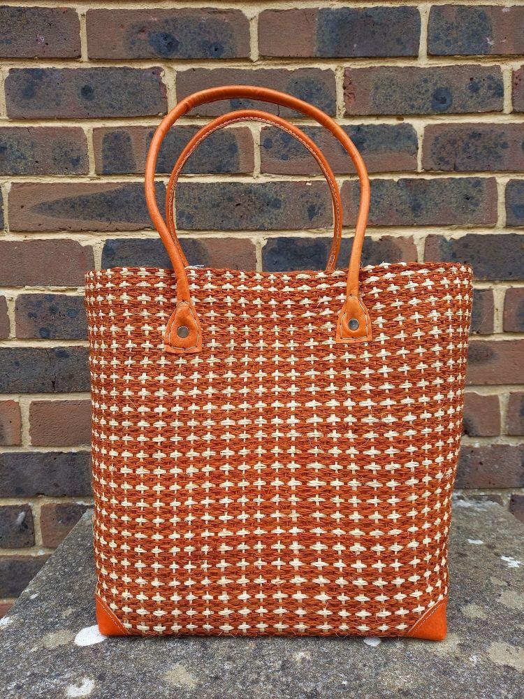 Large sisal cross tan basket