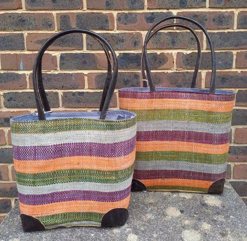 Small warm stripe basket