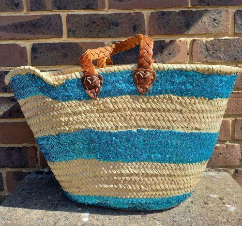 Large palm leaf basket with blue sequin stripe