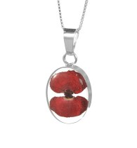 Poppy small oval pendant