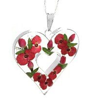 Poppy and rose large heart pendant
