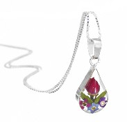 Mixed flower small teardrop pendant