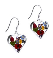 Mixed flower heart drop earrings