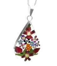 Mixed flower large teardrop pendant