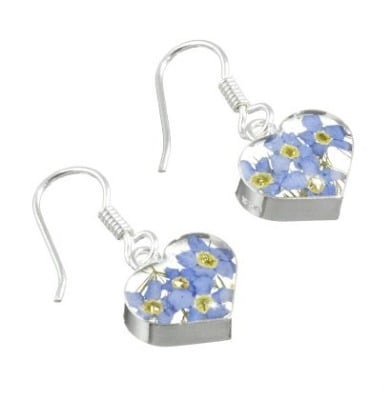 Forget me not heart earrings