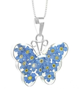 Forget me not butterfly pendant