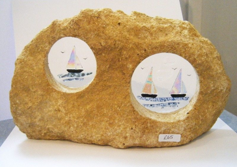 double boats in stone