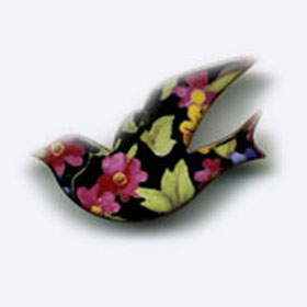 ceramic bird brooch black