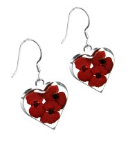 Poppy heart earrings