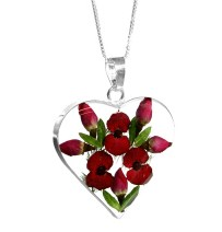 Small poppy and rose heart necklace