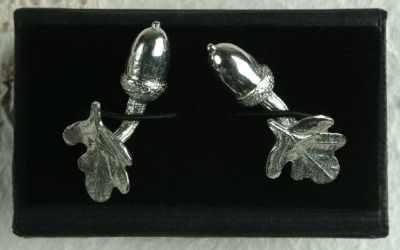 Pewter acorn and oak leaf cufflinks