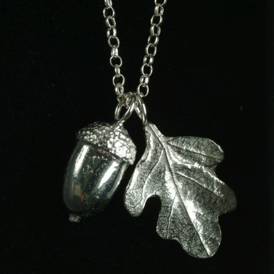 Pewter Acorn and oak leaf Christening pendant