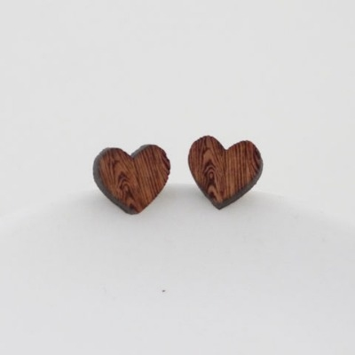 Natural wood heart stud earrings