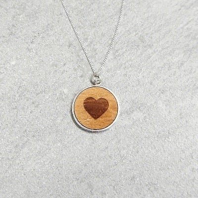 Wooden heart pendant