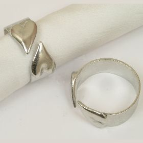Pewter heart napkin rings