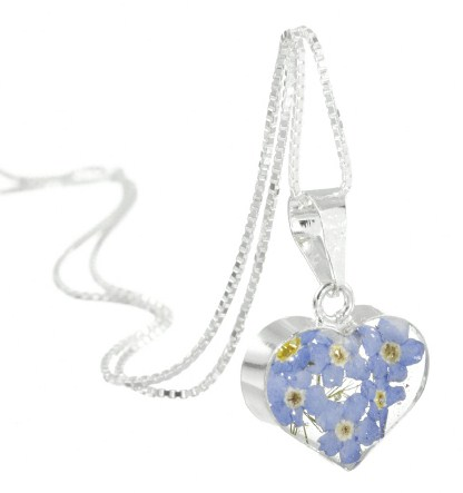 Real flower necklace, forget me not small heart