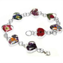 Real flowers heart bracelet