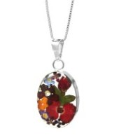 Real flower necklace, large oval