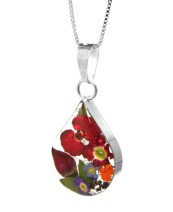 Real flower jewellery, medium teardrop pendant