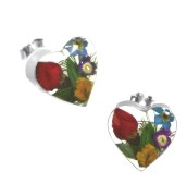 Real flower heart stud earrings