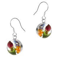Real flower round drop earrings