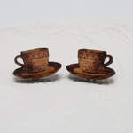 wooden teacup earrings