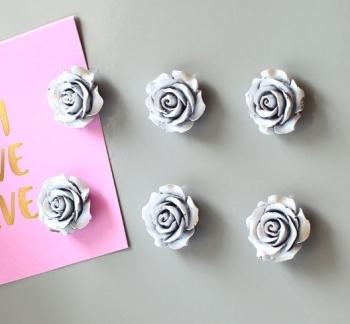 Magnet or Push-pin - 6 Ornate Roses