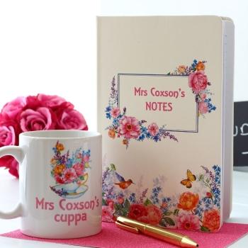 English Rose - Notebook and Mug Gift Set