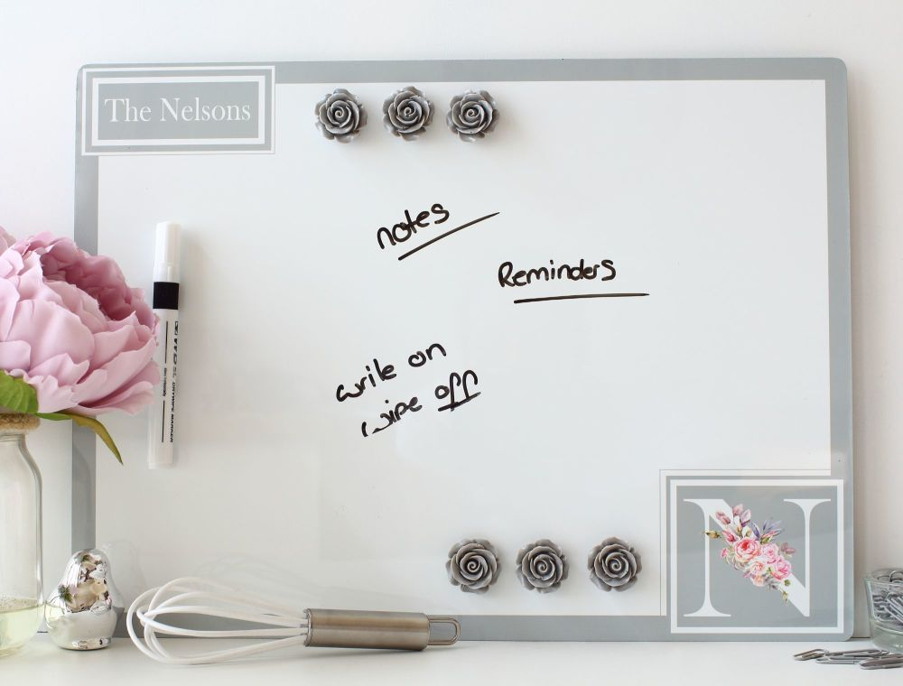 Personalised dry erase magnetic notice board - Unicorn (D1)