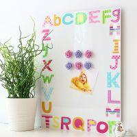 Dry erase magnetic notice board - Alphabet (D8)