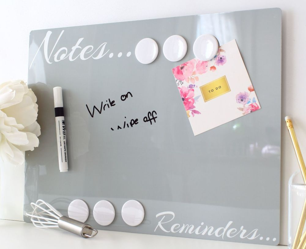 Dry erase magnetic notice board -