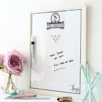 Framed dry erase magnetic notice board - Monogram