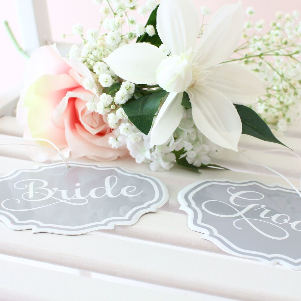 Wedding Chair signs grey and white wedding