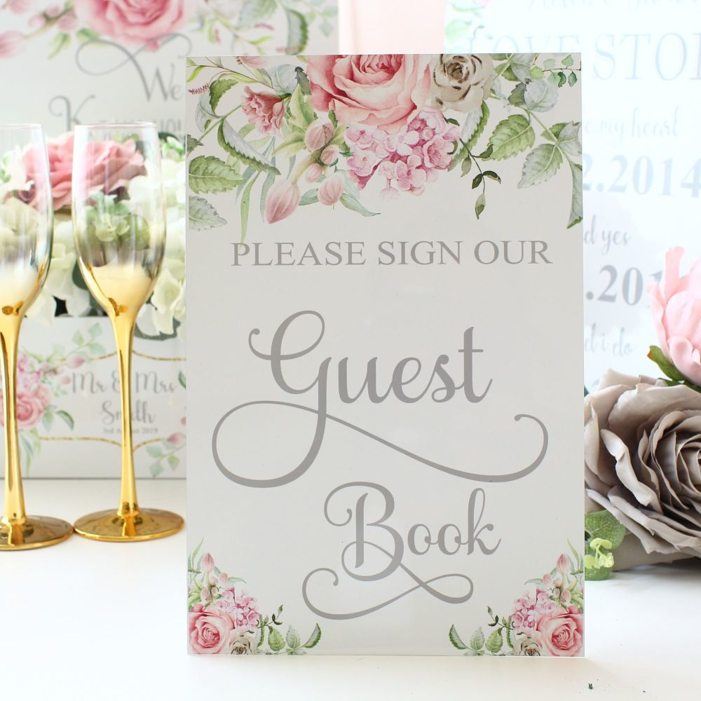 Delicate Florals -Please Sign our Guest Book