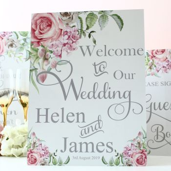 Delicate Florals - Freestanding Welcome sign