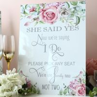 <!-- 009 -->Delicate Florals - Freestanding Pick a Seat Sign