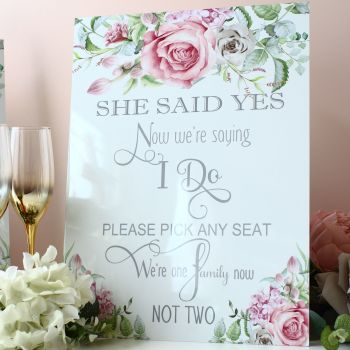 Delicate Florals - Freestanding Pick a Seat Sign