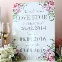 <!-- 007 -->Delicate Florals - Freestanding Love Story sign