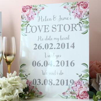 Delicate Florals - Freestanding Love Story sign