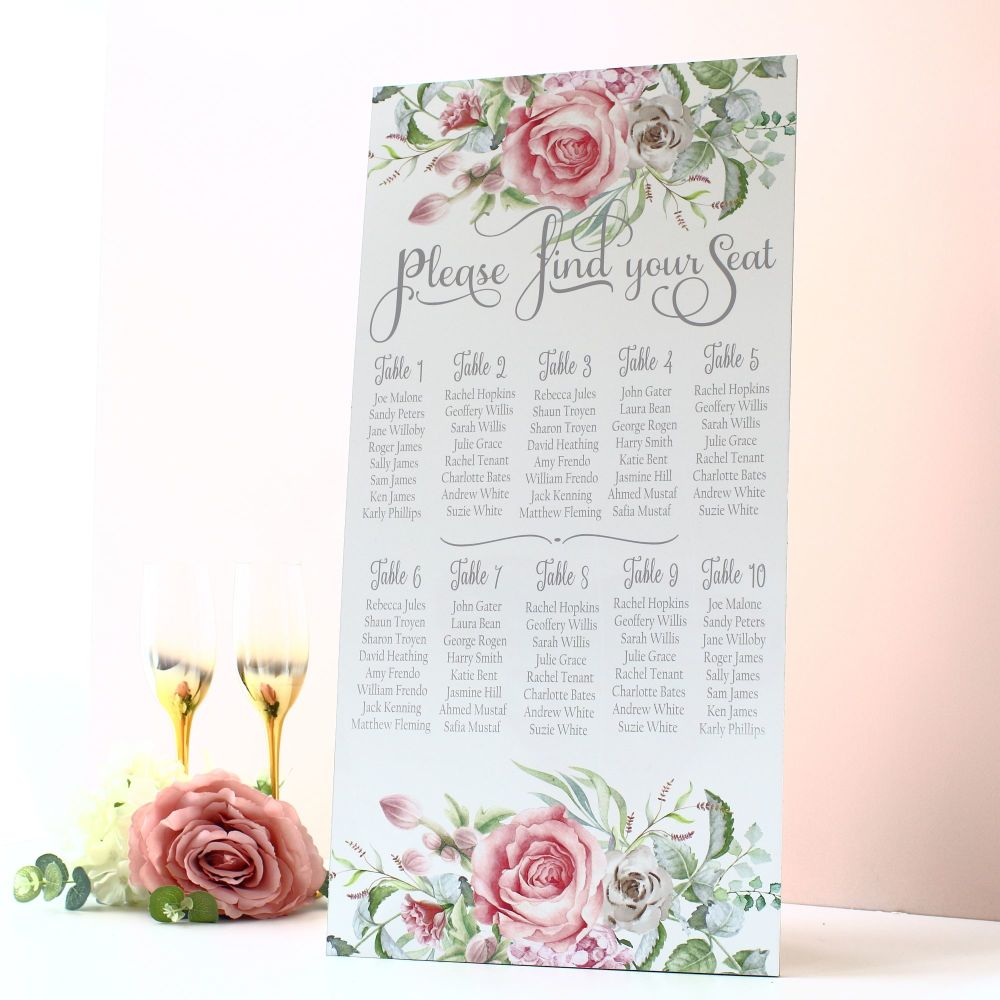 Delicate Florals - Extra Tall Sign - Seating Plan