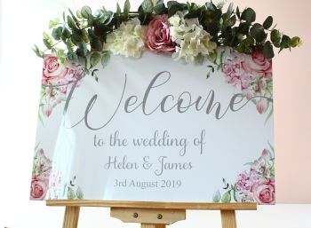 Delicate Florals - Easel Sign - Welcome sign