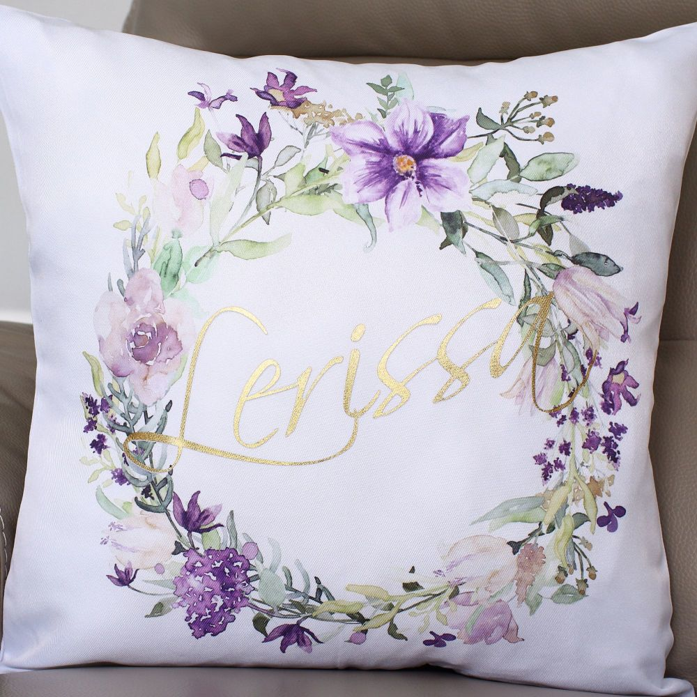 Luxury Cushion Covers - Floral wreath with name