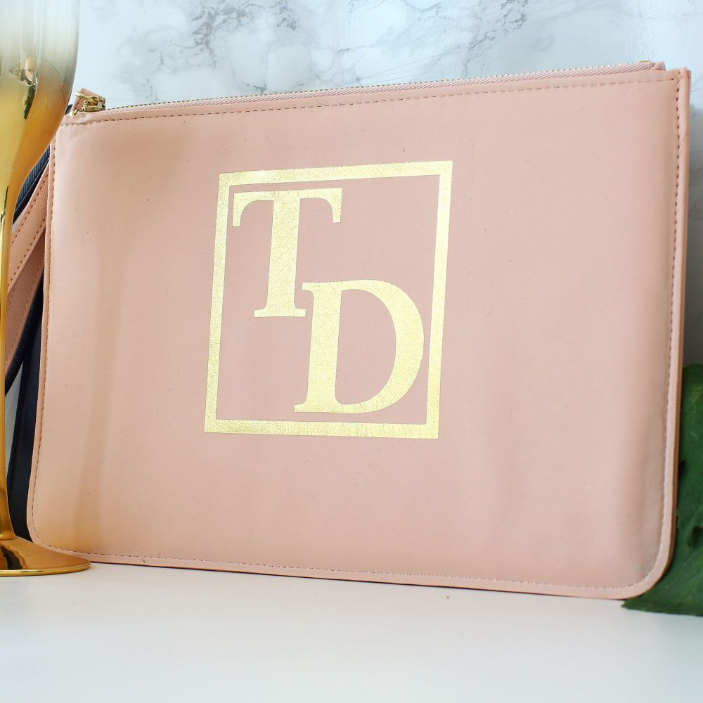 <!-- 013 -->Gifts for Her - Leather clutch - Monogram