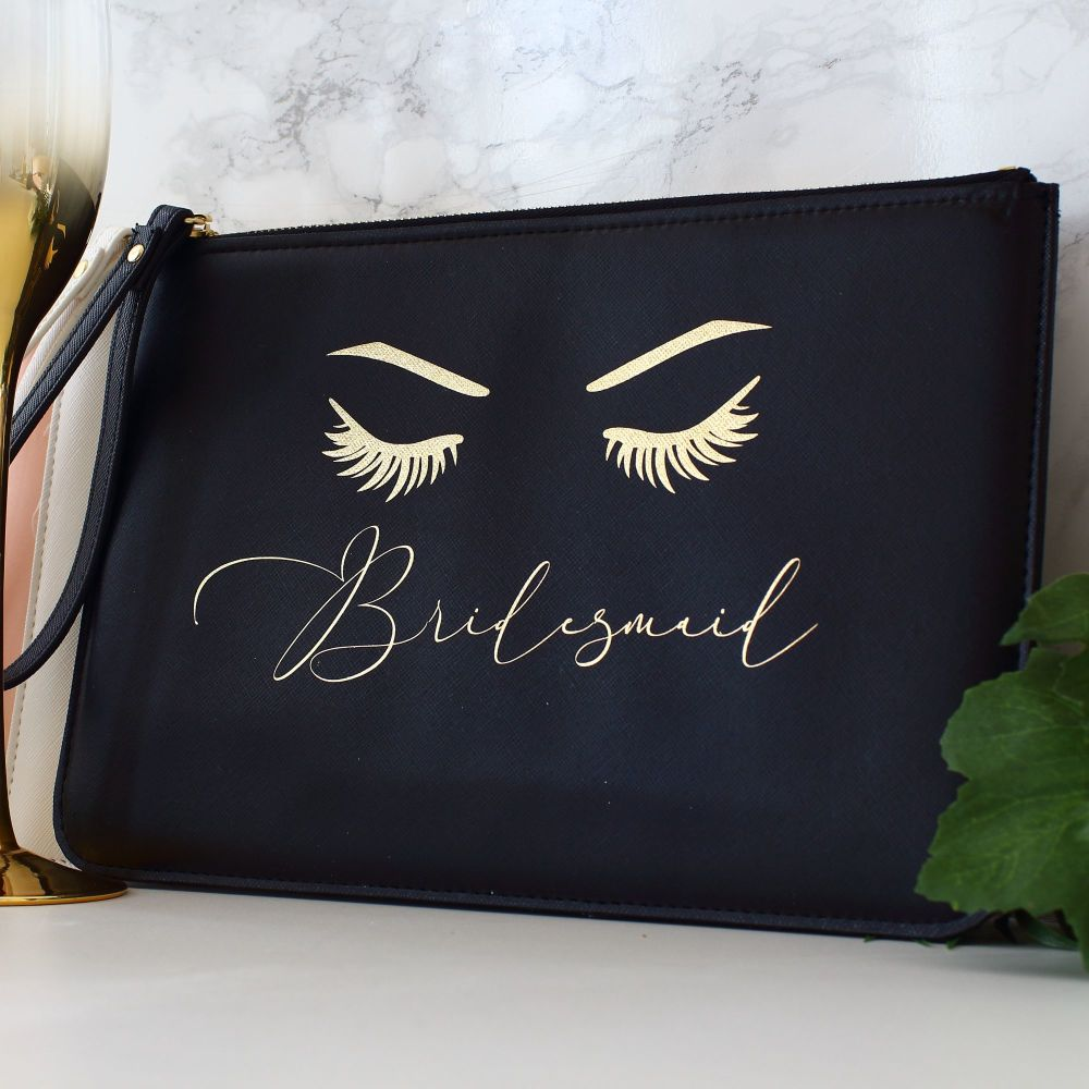 <!-- 014 -->Gifts for Her - Leather clutch - Eyelashes