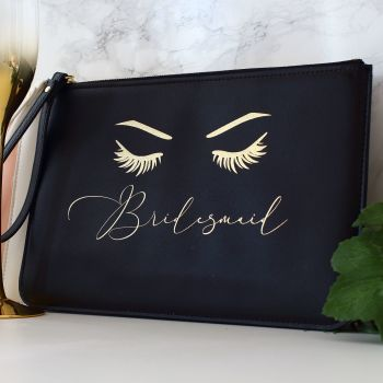 Gifts for Her - Leather clutch - Eyelashes