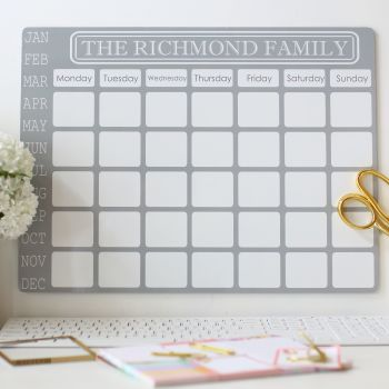 Personalised monthly dry erase planner - E1